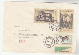 1971 CZECHOSLOVAKIA COVER  Stamps HORSE CHAMOIS GOAT - Czechoslovakia