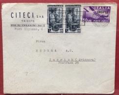 TRIESTE AMG FTT - BUSTA DELLA CITECI SPA PER L'ESTERO CON P.A. L.50 + COPPIA LAVORO L.5 - 1953 - 7. Trieste