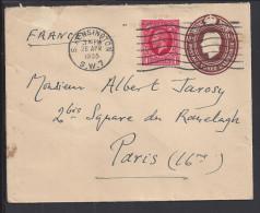 GR-BRETAGNE - 1935 -  ENVELOPPE ENTIER POSTAL + COMPL. D´AFFRANCHISSEMENT DE SOUTH. KENSINGTON VERS PARIS - - 1902-1951 (Rois)