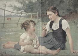 Chromotypogravure/Boussod & Valadon/Dalobber/Le Papillon/Discussion Sur L'herbe/Edition Braun-Clément/Vers 1895   GRAV - Engravings