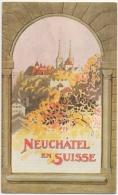 Dépliant. Publicité. Illustrateur. E.Boitel. Neuchâtel En Suisse. Place Des Halles, Golf, Théâtre... - Dépliants Touristiques