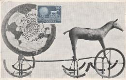DANEMARK    N° 376 CARTE MAXIMUM  COPENHAGUE 15/05/1957 CHAR DU SOLEIL - Cartoline Maximum