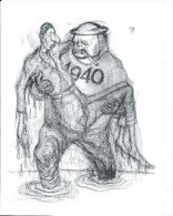 Dessin Satyrique  Imprimé/Churchill Portant De Gaulle En 1940/TIM/années Soixante   GRAV79 - Engravings