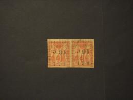 N. CALEDONIA - 1891/2 PITTORICA 10 C. Su 40 C.,coppia, Soprastampa Capovolta - TIMBRATO/USED - Nouvelle-Calédonie