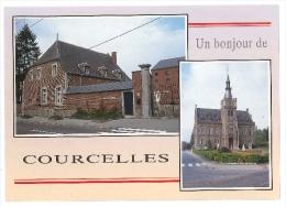 Cpsm Belgique COURCELLES Hotel De Ville Posterie Pont Du Canal - Un Bonjour De - Courcelles