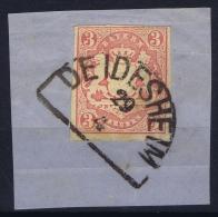 BAYERN:  Mi Nr 15 Yv Nr 16  Used  1867 Bahnpost Stempel DEIDESHEIM - Bayern