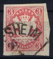 BAYERN:  Mi Nr 15 Yv Nr 16  Used  1867 Bahnpost Stempel - Bayern