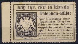 BAYERN:  1 Mark Telephon Biljet, Randstück, Has A Vertical Fold - Bayern