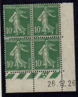 CD0046    N°159 - 10c Vert Semeuse - Coin Daté 26/12/28 **