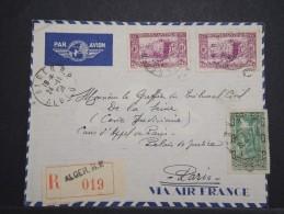 ALGERIE - Env D´Alger Pour Paris Par Avion - Nov 1938 (dateur Cassé) - Affr Plaisant - A Voir - P 14953 - Algérie (1924-1962)