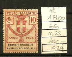 1824  REGNO  10c N.25 Nuovo  Senza Gomma - 1900-44 Vittorio Emanuele III