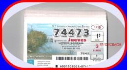 AÑO 2015 COMPLETO LOTERÍA NACIONAL DE LOS JUEVES 53 DECIMOS - Billetes De Lotería