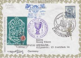 ÖSTERREICH  1049 Auf Brief 2, Weihnachts- Ballonpost Mit Ergee Augusta IX Ab Abtei Kremsmünster, Christkindl 9.12.1962 - Ballonpost
