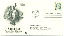 1989 USA Sitting Bull Sioux Tribal Leader 28c First Day Cover - First Day Covers (FDCs)