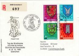 Schweiz : Tag Der Briefmarke 1981 - MiNr. 1210 / 1213     R-Karte - Gebraucht