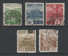 JAPON  1937 - Obl. Y&T 264,265,269,275,276  - Série Courante - 3€