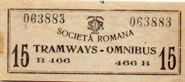 1895 BIGLIETTO TRAM ROMA - Tramways