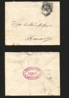 G)1887 PERU, COAT OF ARMS, LIMA CIRC. CANC., CIRCULATED COVER TO HUANCAVELICA, XF - Peru