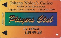 Johnny Nolon´s Casino Cripple Creek CO - 3rd Issue Players Club Slot Card (Embossed) - Casino Cards