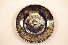 Petite Assiette / Sous-coupe Sous-tasse Décorative ORO DE LEY, Espagne. Bleu Roy Roi Or. Décor Fleurs Oiseaux - Céramiques