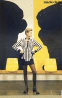 Mode - Publicité De Marie Claire - Mars 1991 - Lycra Chez Irié-  Veste à Rayures Longiligne Sur Jupe Courte Brillante - Advertising