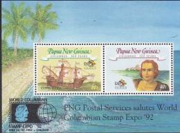 PAPUA NEW GUINEA, 1992 COLUMBUS MINISHEET MNH - Papua Nuova Guinea