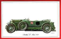 """- Fiche Illustrée. Voiture - Bentley """"Le Mans"""" 1930 - - Coches"""