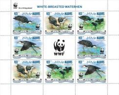 Maldives 2013, WWF, Birds, White Breasted Waterhen, 4val X2 In Sheetlet - W.W.F.