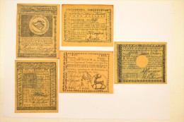 Four Dollars Carolina 1778 Eight State Of Maffachufetts Five Shillings 4 Georgia 1777 7 Seven New-hampshire Billet Usa - Stati Uniti