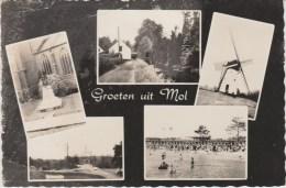 MOL BELGIQUE 1950 ? RUE MAISON MOULIN PLAGE ANIMEE MONUMENT PLACE GROETEN UIT MOL ED VAN BECKHOVEN RUTS AUREOLE - Mol