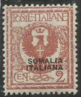 SOMALIA 1926 1930 SOPRASTAMPATO D´ITALIA ITALY OVERPRINTED CENT. 2 C MNH BEN CENTRATO - Somalia