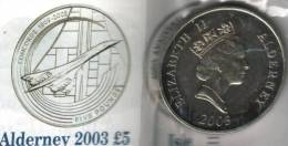 ALDERNEY 5 POUNDS AIRPLANE CONCORDE FRONT QEII HEAD BACK 2003 UNC  READ DESCRIPTION CAREFULLY !!! - Regional Coins