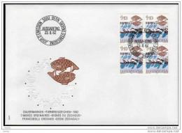 SCHWEIZ 1982 - Astrologie / Fisch Tierkreiszeichen - MiNr.1228 FDC Mit 4er Block - Astrologie