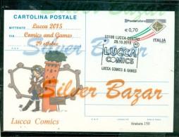 LUCCAFUMETTI-BORSE SALONI COLLEZIONISMO-LUCCA  COMICS--INTERO POSTALE-SOPRASTAMPA PRIVATA-MARCOFILIA - 6. 1946-.. Repubblica