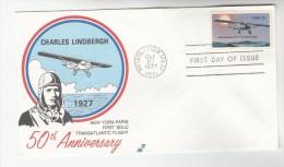 1977  USA FDC Stamps CHARLES LINDBERGH FLIGHT ANNIV  Pmk ROOSEVELT FIELD Aviation Cover - Aerei