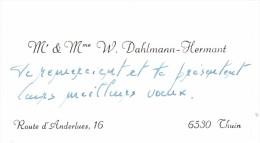 Ancienne Carte De Visite De Wilfried Dahlmann Hermant, Professeur à L´Ecole Normale De Morlanwelz, Thuin (vers 1970) - Cartes De Visite