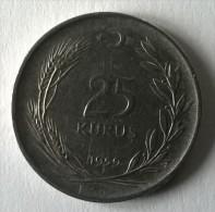 Monnaie - Turquie -25 Kurus - 1959 - TTB - - Turquie