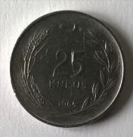 Monnaie - Turquie - 25 Kurus - 1964 - - Turquie