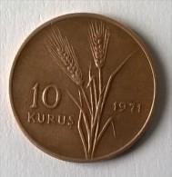 Monnaie - Turquie - 10 Kurus - 1971 - TTB - - Turquie