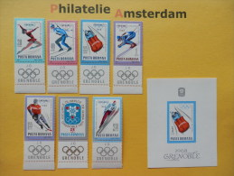 Romania 1967, OLYMPICS GRENOBLE: Mi 2620-26, + Bl. 64, ** - Winter 1968: Grenoble