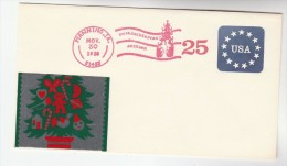 1988 USA Speicial CHRISTMAS FESTIVAL Pmk  POSTAL STATIONERY With METAL PICTURE On COVER , Stamps - Christmas