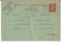 PETAIN - 1942 - CARTE POSTALE COMMERCIALE De PARIS Pour TOULOUSE - RARE MAIS PLI VERTICAL - Entiers Postaux