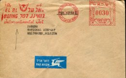 3747 Israel ,  Red Meter 1982  El Al Boeing 707  Airplane Avion - Aerei