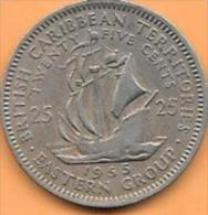 British Caribbean Territories 25 Cents 1955 Et 1965 Clas D 63 - Territoires Britanniques Des Caraïbes