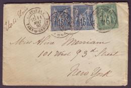 TARN & GARONNE - LSC - Tàd T18 MONTAUBAN Sur Paire N° 90 + N° 75 Pour New York (E.U) - Marcophilie (Lettres)