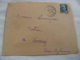 Gueures 76 Cachet Obliteration Recette Auxiliaire Sur Lettre - Marcophilie (Lettres)