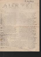 Tract Ronéoté Cracra (clandestin) ALERTE 8/10/1943 Organe Départemental (gers) Du Front National (résistance) (PPP2133) - Documents Historiques