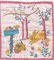 mouchoir enfant Fables de la Fontaine Le Li�vre et la Tortue BERFILS Grand Teint France ann�es 60-70