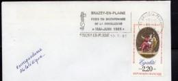 France 1989.Bicentenaire De La Révolution.Flamme Et Cachet Rond.Voyagée.BRAZEY EN PLAINE - France