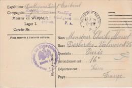 Carte De Prisonnier Français En Allemagne 1916 MÜnster En Westphalie-Kriegsgefangenensendung